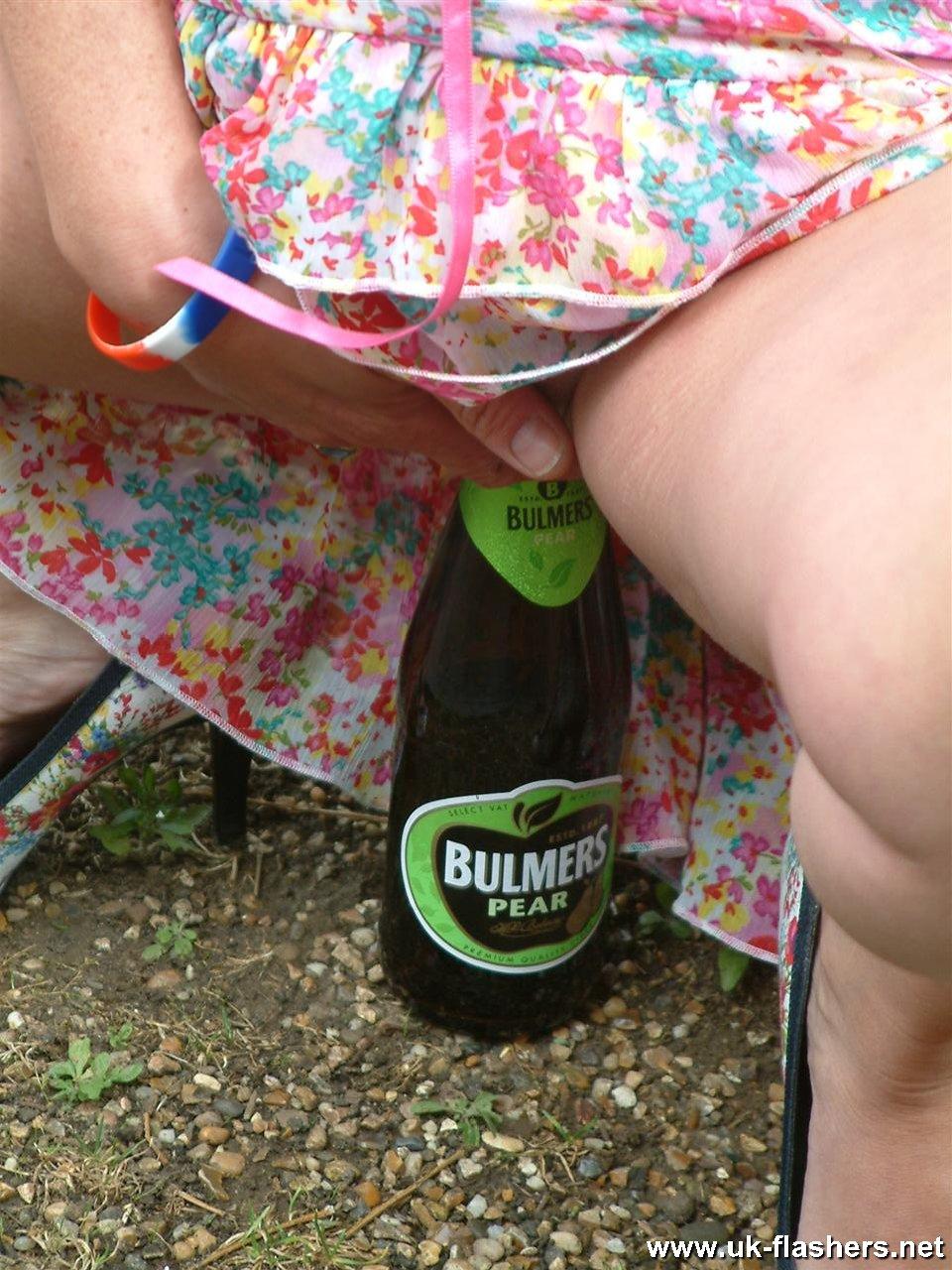 bottle fucking nude in public